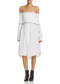 DKNY Layered Look Off-the-Shoulder Dress