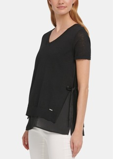 Dkny Layered-Look Side-Tie Sweater