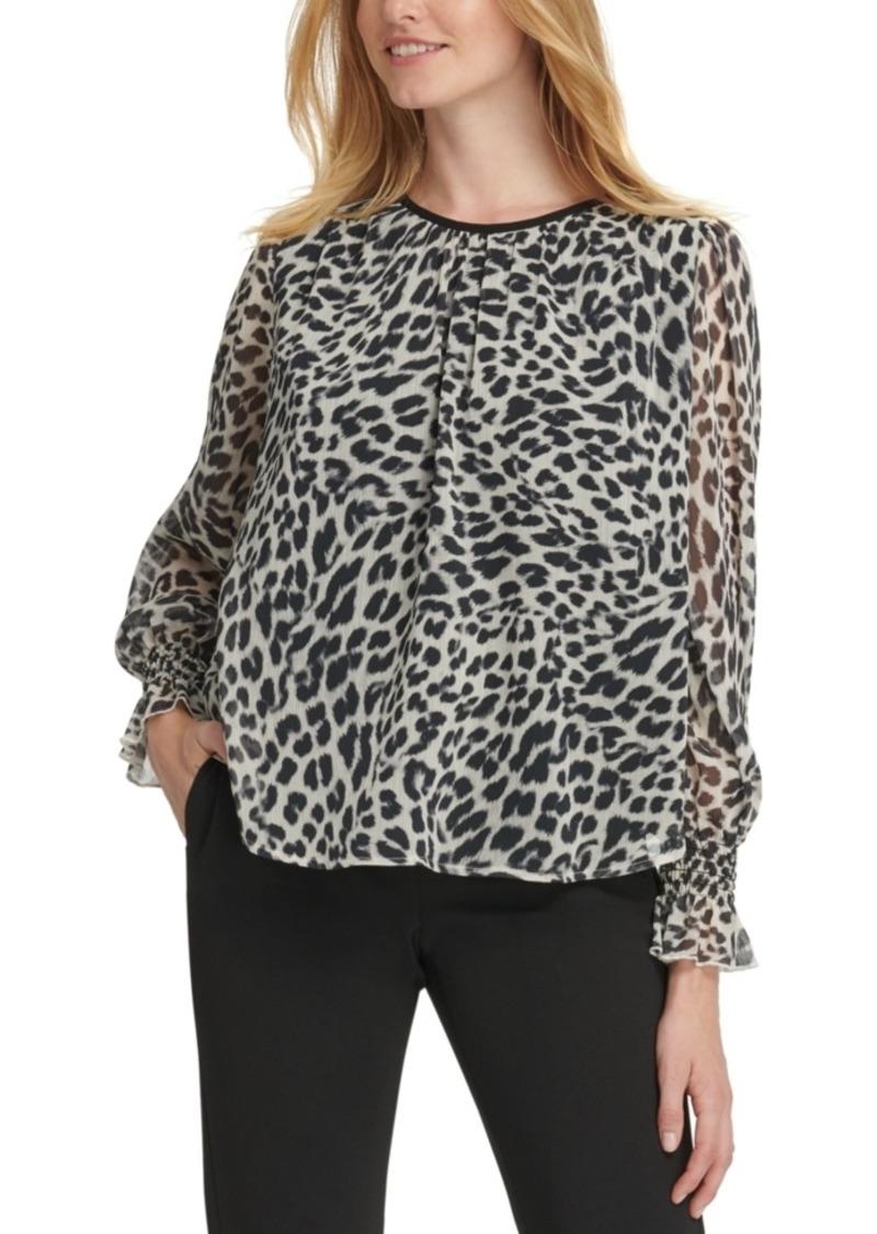 Dkny Leopard-Print Crinkle-Chiffon Top
