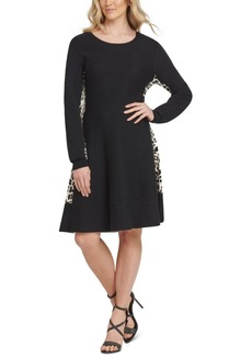 Dkny Leopard Print-Trimmed Sweater Dress