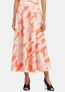 Dkny Linen Printed Hardware Maxi Skirt