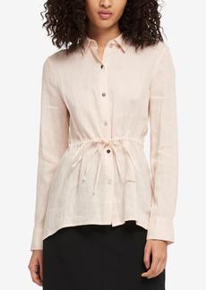 Dkny Linen Tie-Waist Blouse, Created for Macy's