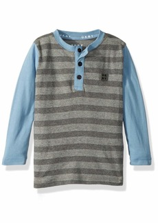 DKNY Little Boys' Long Sleeve Color Block and Microstripe Henley Shirt