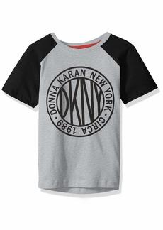 DKNY Little Boys' Short Raglan Sleeve Color Block Token Crew Neck T-Shirt
