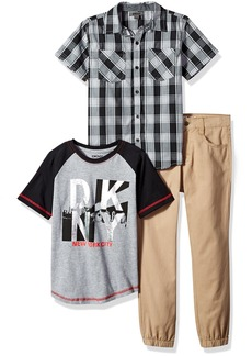 DKNY Little Boys' Short Sleeve Shirt T-Shirt and Pant Set (More Styles)Caviar-DKKEB