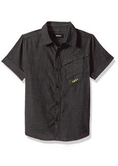 DKNY Little Boys' Short Sleeve Sport Shirt Black Wash-Kbbxo