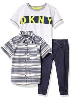 DKNY Boys' Little Sport Knit Shirt and Pant Set Black Iris-KBBF