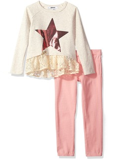 DKNY Little Girls' Fashion Top and Legging Set (More Styles Available) 1117DG Oats Heather