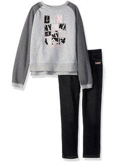DKNY Girls' Little Fashion Top and Pant Set (More Styles Available) 1049DG Medium Grey