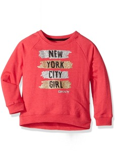 DKNY Little Girls' Long Sleeve Sweatshirt (More Styles Available) 1043DG Raspberry Heather