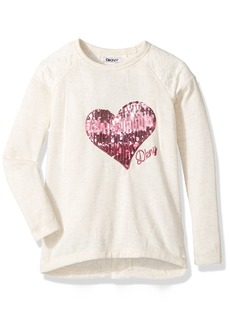 DKNY Little Girls' Long Sleeve T-Shirt (More Styles Available) 1077DG Vanilla Ice