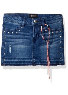 DKNY Girls' Little Skirt Hem Release Denim True Medium wash