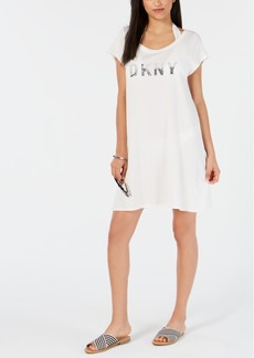 Dkny Logo T-Shirt Dress Cover-Up Women's Swimsuit