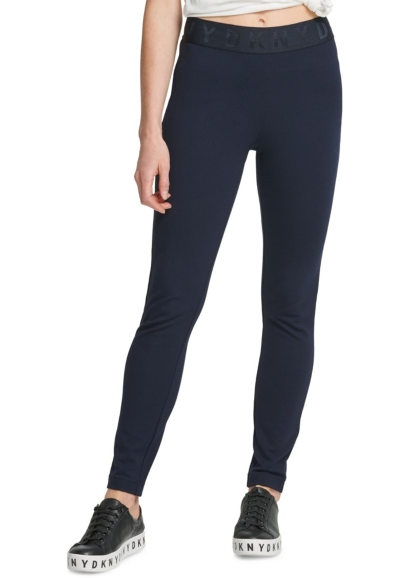 Dkny Logo Waistband Compression Ponte Legging