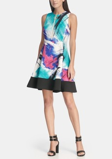 Dkny Logo Zipper Fit and Flare Dress with Contrast Hem, Created for Macy's