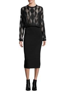 DKNY Long-Sleeve Blouson Combo Dress