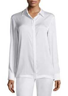 DKNY Long-Sleeve Collared Pleated-Back Blouse