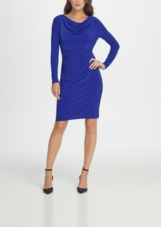 Dkny Long Sleeve Cowl Neck Pleated Sheath Dress