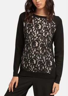 Dkny Long-Sleeve Crewneck Lace Pullover Sweater