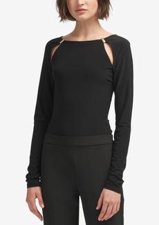 Dkny Long-Sleeve Cutout Bodysuit, Created for Macy's