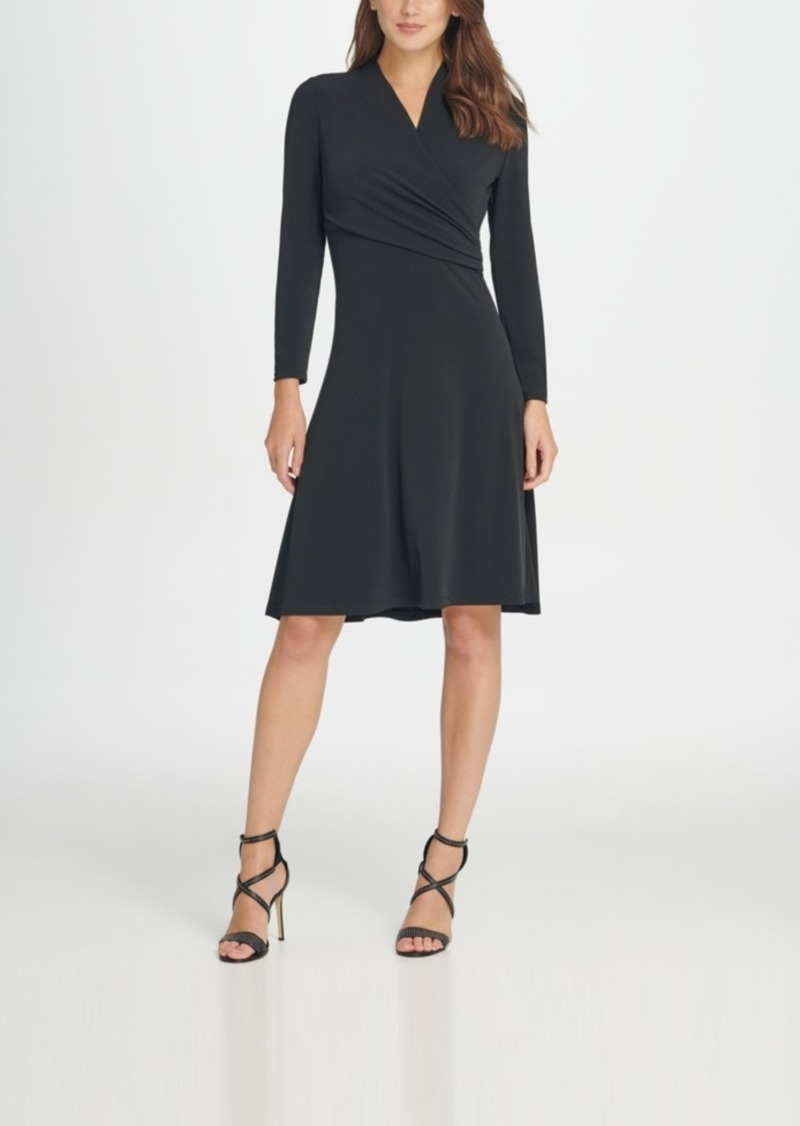 Dkny Long sleeve Jersey Side Ruche Fit & Flare Dress