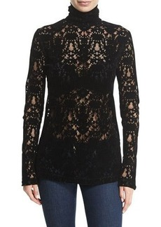 DKNY Long-Sleeve Lace Turtleneck Top