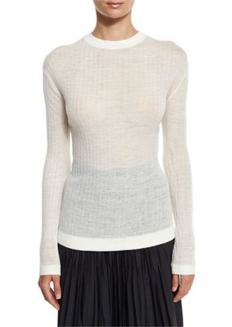 DKNY DKNY Long-Sleeve Sheer Ribbed Pullover Sweater | Casual ...