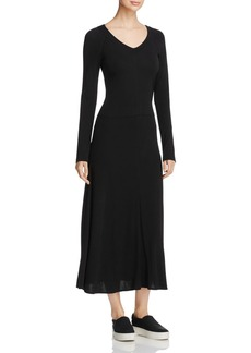 DKNY Long Sleeve V-Neck Dress