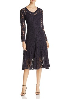 DKNY Long Sleeve V-Neck Lace Dress