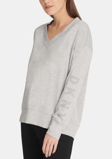 Dkny Long-Sleeve V-Neck Logo Sweatshirt