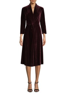 DKNY Donna Karan Long-Sleeve Velvet Dress