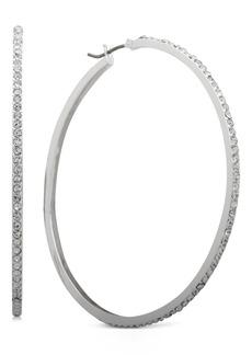 "Dkny Medium Silver-Tone Pave Hoop Earrings 2"", Created For Macy's"