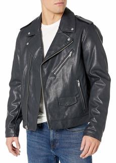 DKNY Men's Classic Asymmetrical Faux Leather Motorcycle Jacket