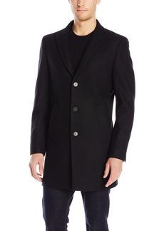 DKNY Men's Denn 34 Inch Overcoat Black