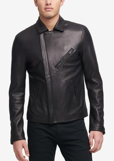 Dkny Men's Leather Moto Jacket, Created for Macy's