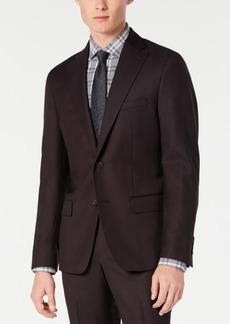 Dkny Men's Modern-Fit Stretch Burgundy Birdseye Suit Jacket