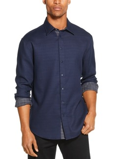 Dkny Men's Reversible Solid & Plaid Shirt
