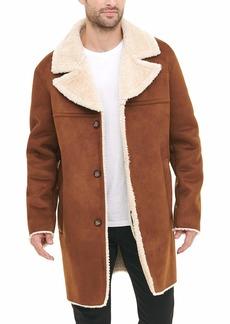 DKNY Men's Shearling Walking Coat with Faux Fur Collar