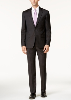 Dkny Men's Slim-Fit Black & Brown Birdseye Suit