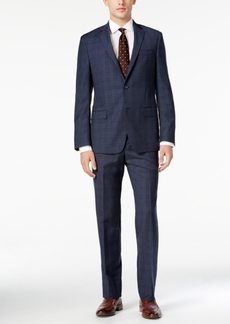 Dkny Men's Slim-Fit Blue Tonal-Plaid Suit