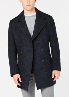 Dkny Men's Slim-Fit Dutch Navy/Black Camouflage Overcoat