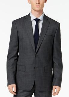 Dkny Men's Slim-Fit Gray/Blue Plaid Suit Jacket
