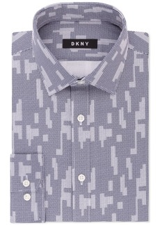 Dkny Men's Slim-Fit Navy White Print Dress Shirt, Created for Macy's