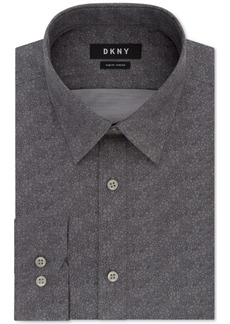 Dkny Men's Slim-Fit Performance Stretch Gray Print Dress Shirt