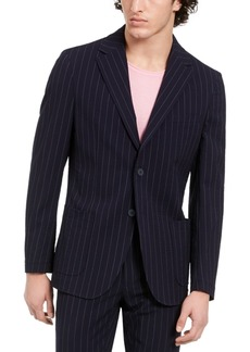 Dkny Men's Slim-Fit Stretch Navy Blue Seersucker Stripe Suit Jacket