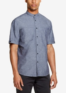 Dkny Men's Solid Banded-Collar Woven Shirt, Created for Macy's