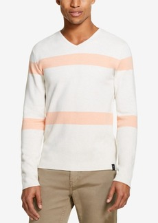 Dkny Men's Striped V-Neck Sweater, Created for Macy's
