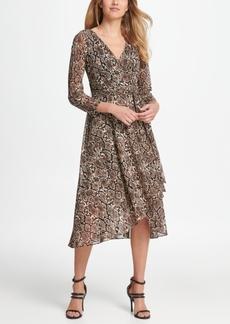 Dkny Mesh Animal Print Wrap Handkerchief Dress