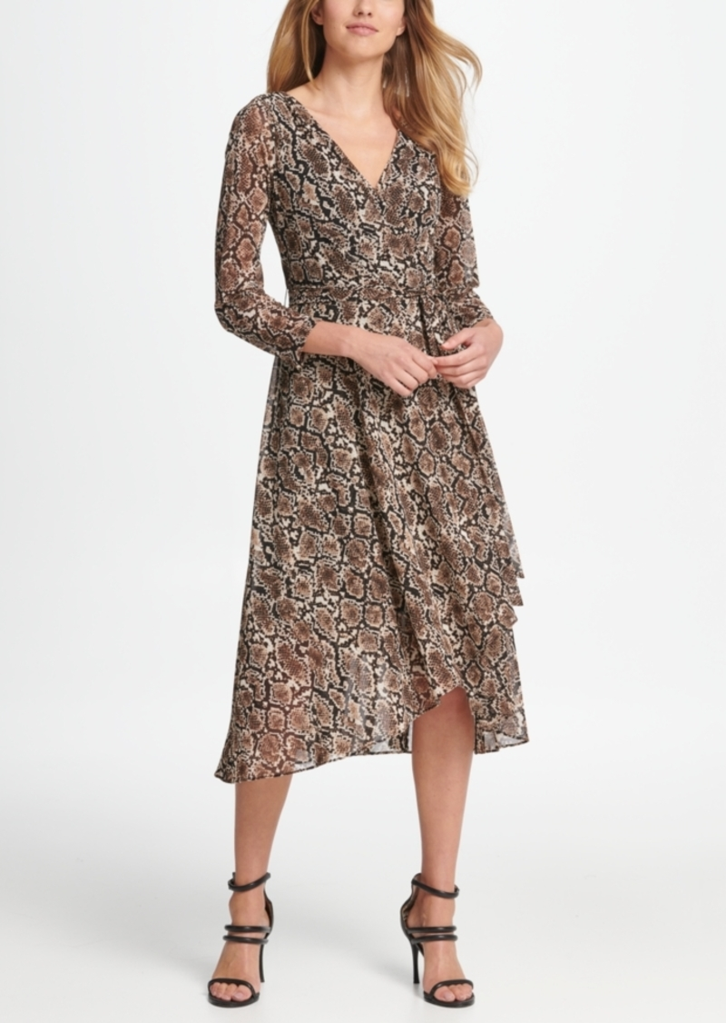 Dkny Mesh Animal Print Wrap Handkerchief Dress