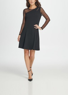Dkny Mesh Combo Fit & Flare Dress